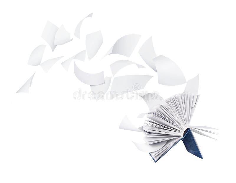Due libri in bianco con le pagine di volo isolate su bianco fotografie stock