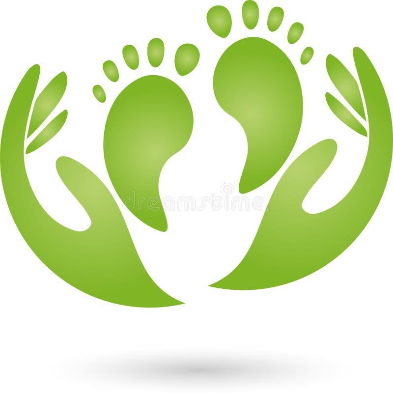 Due logo dei piedi e delle mani, di cura dei piedi e di massaggio illustrazione vettoriale