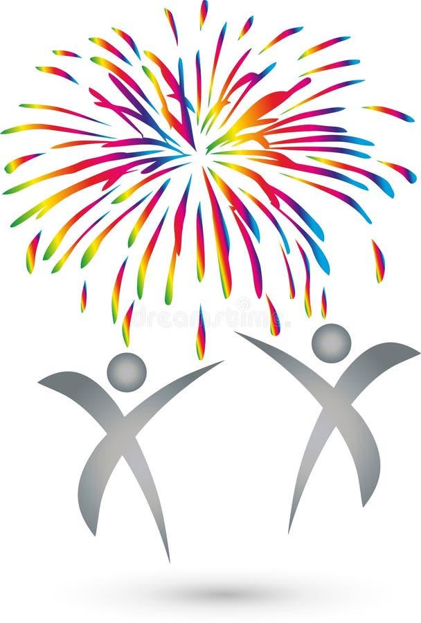 Due logo della gente e dei fuochi d'artificio, della gente e di celebrazione illustrazione di stock