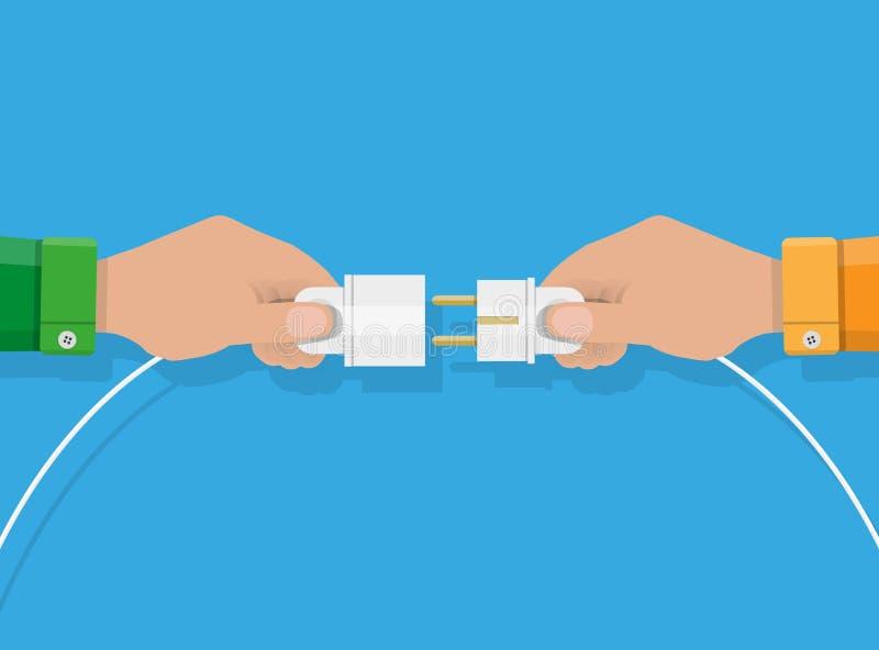Due mani che provano ad inserire insieme spina elettrica illustrazione di stock