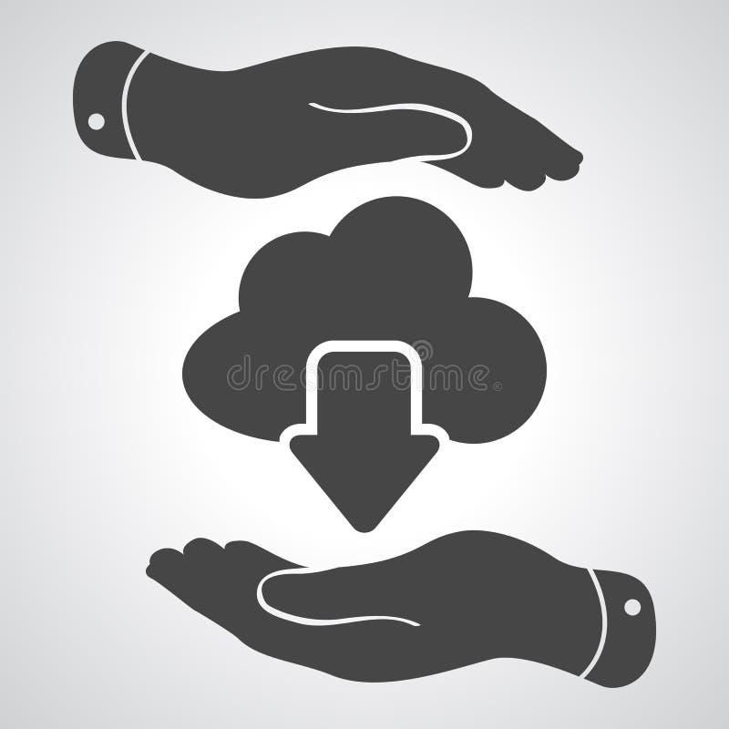 Due mani con l'icona di calcolo di download della nuvola illustrazione di stock