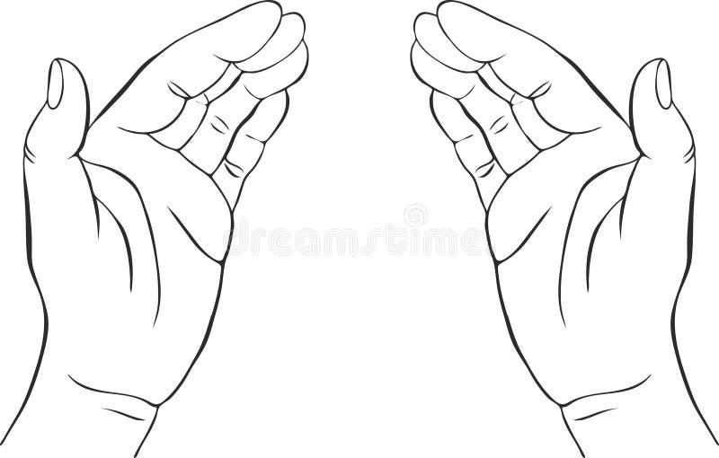 Due mani con le palme aperte illustrazione di stock