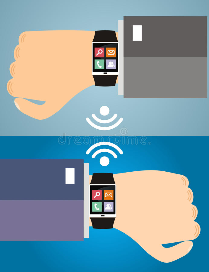 Due mani con un orologio astuto che visualizza le icone di un web Concetto di illustrazione vettoriale