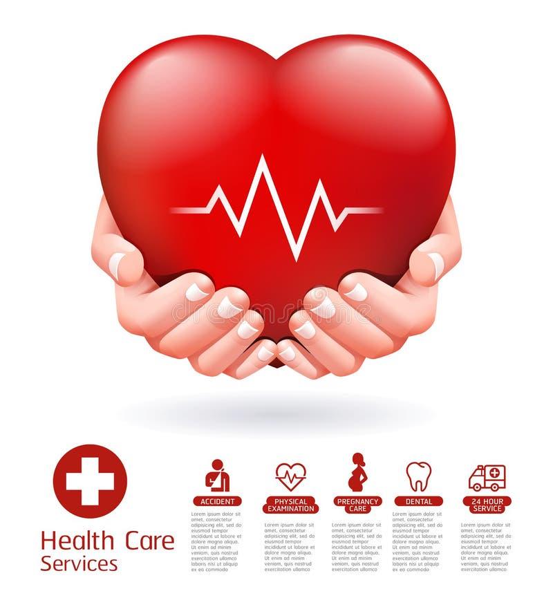 Due mani e progettazione concettuale rossa del cuore Vettore di servizio di sanità illustrazione vettoriale