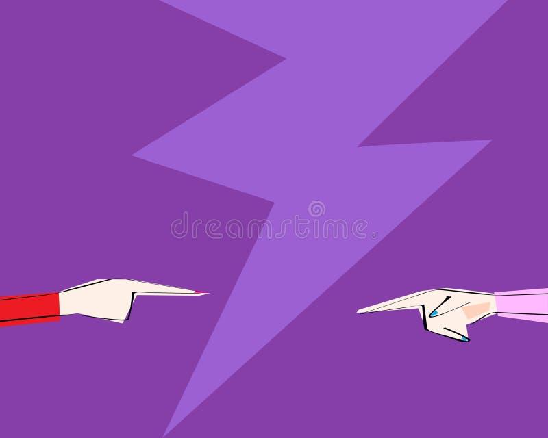 Due mani femminili con indicare il dito hanno diretto ad a vicenda Il concetto di discussione, accusa, affare, frien illustrazione di stock