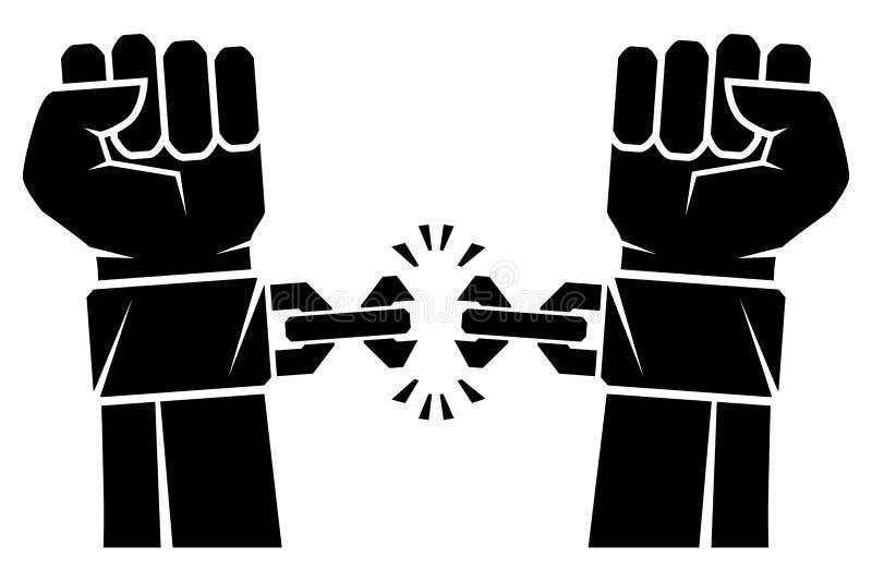 Due mani serrate nelle catene strappanti di un pugno che hanno ostacolato il simbolo della rivoluzione di libertà Mani umane e c  royalty illustrazione gratis