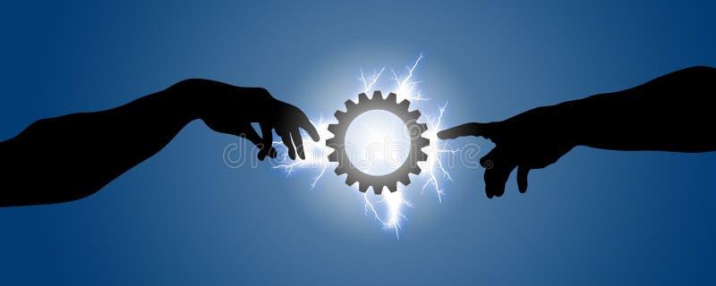 Due mani vanno verso un ingranaggio illuminato con fulmine illustrazione di stock