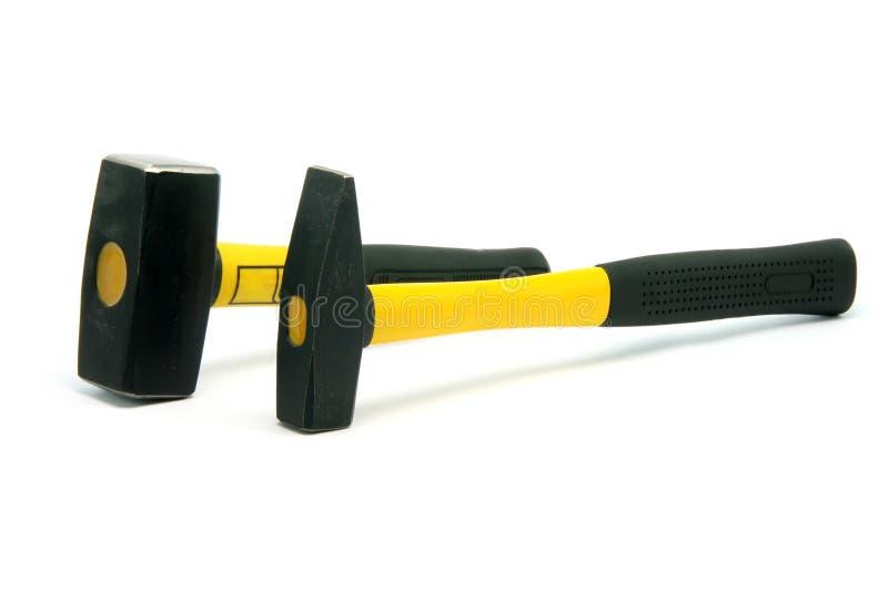 Due martelli gialli immagini stock libere da diritti