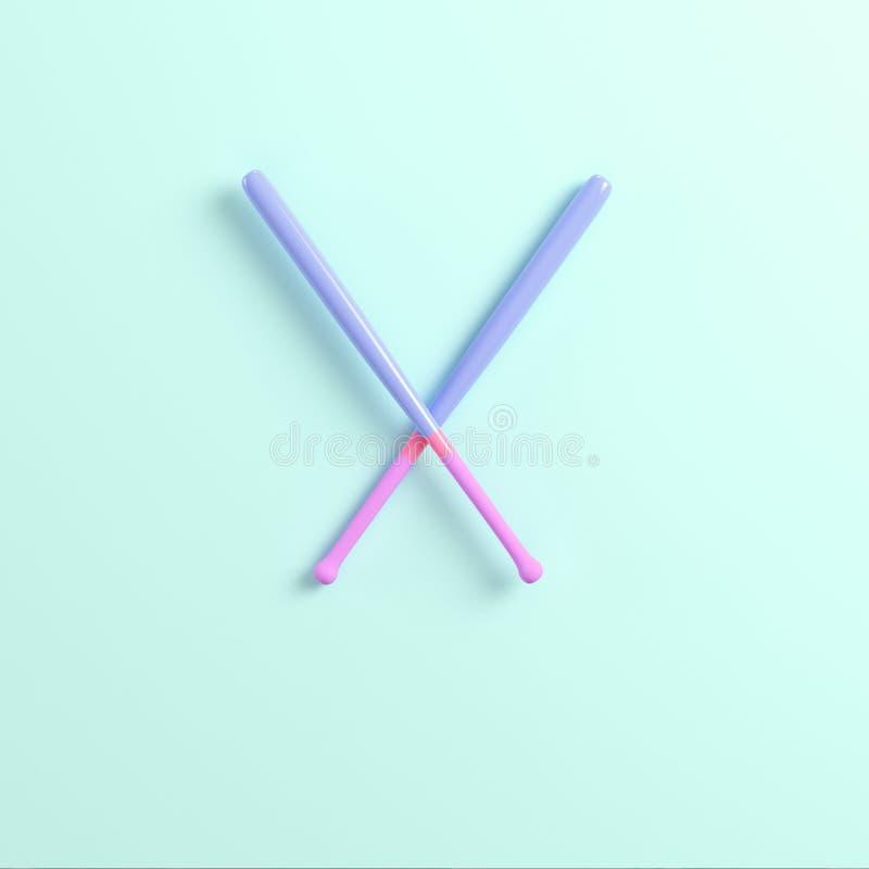 Due mazze da baseball su fondo luminoso nei colori pastelli illustrazione di stock