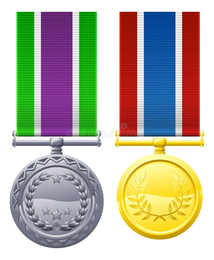 Due medaglie e nastri del petto del metallo royalty illustrazione gratis
