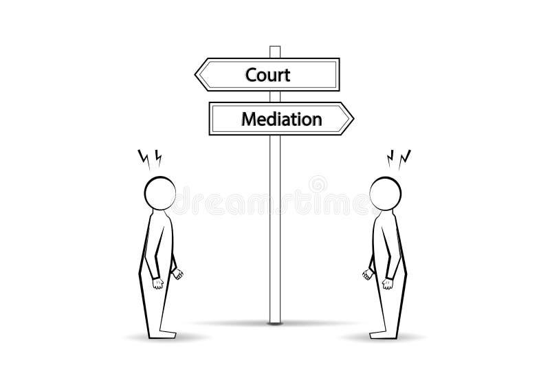 Due mediazioni di corte degli uomini e del waymark di angree isolate su fondo bianco, vettore orizzontale illustrazione di stock