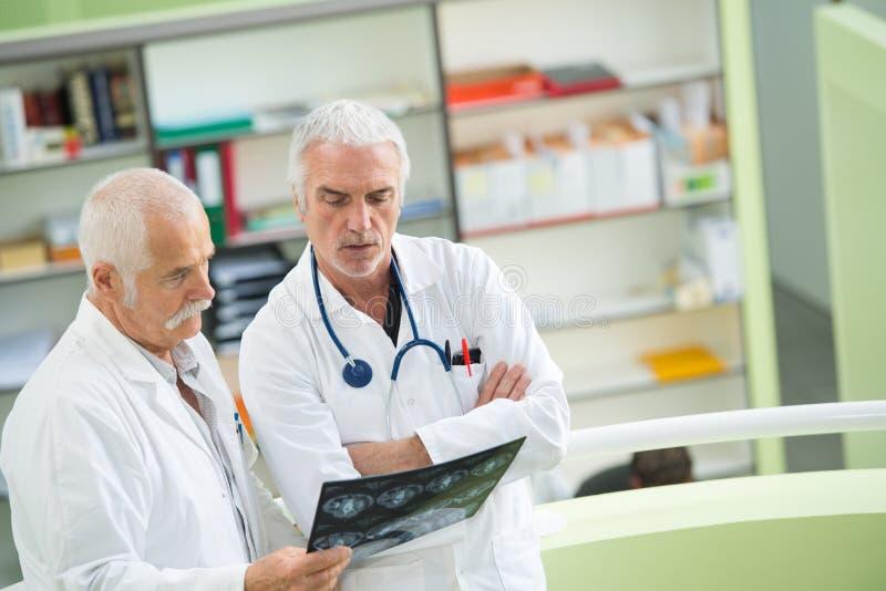 Due medici con esperienza che esaminano due immagini dei raggi x immagine stock