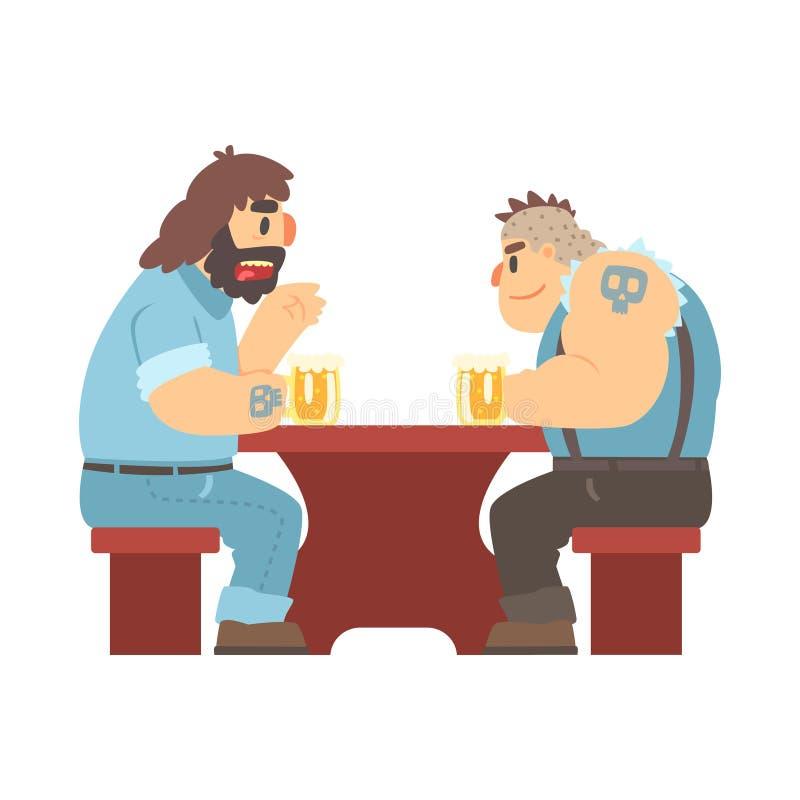 Due membri del gruppo con i tatuaggi che parlano alla Tabella, alla birra Antivari ed al criminale che guarda gli uomini di Muscl illustrazione di stock