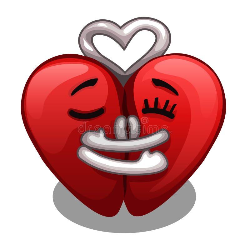 Due metà di un abbracciare del cuore isolato su un fondo bianco Illustrazione di vettore illustrazione di stock