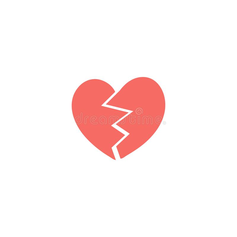 Due metà rosse dell'illustrazione del cuore rotto, icona per il giorno di biglietti di S. Valentino, progettazione di nozze royalty illustrazione gratis