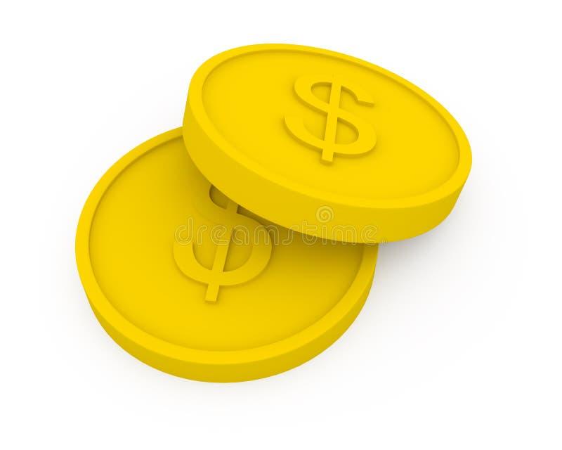 Due monete dorate nello stile del fumetto royalty illustrazione gratis