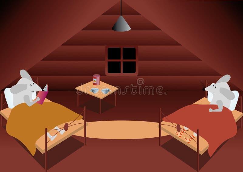Due mouse nella soffitta illustrazione vettoriale