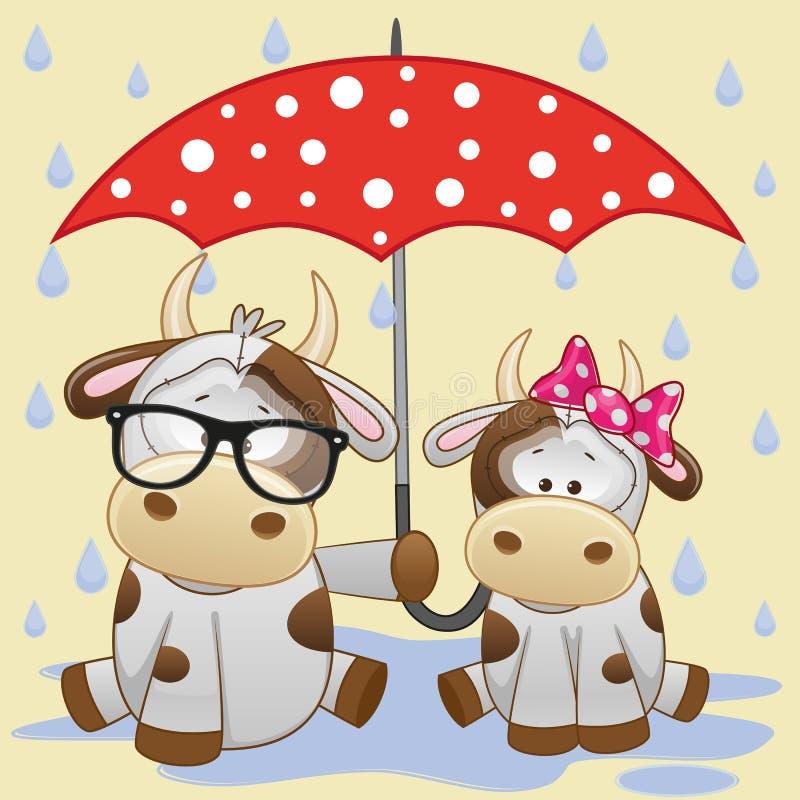 Due mucche con l'ombrello illustrazione vettoriale