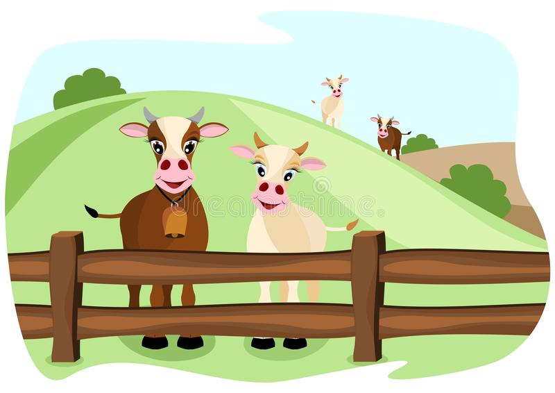Due mucche sveglie sul pascolo royalty illustrazione gratis