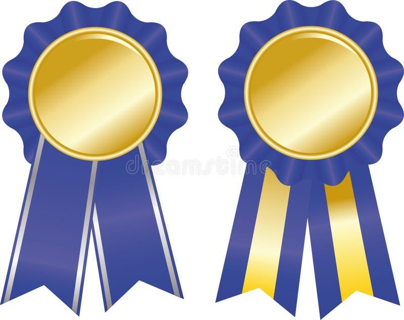 Due nastri blu del premio illustrazione di stock