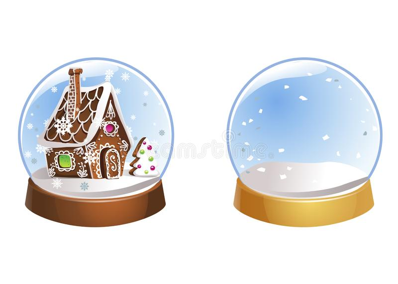 Due Natali nevicano globi con i fiocchi di neve isolati su fondo bianco Illustrazione di vettore Inverno in palle di vetro illustrazione di stock