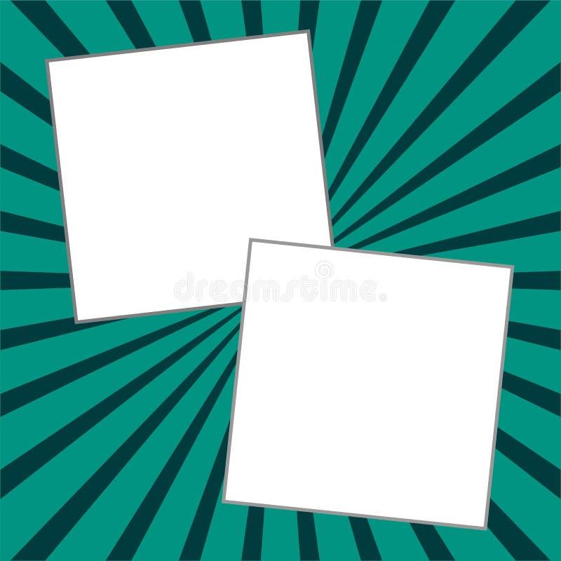 Due note di carta sul fondo dello starburst illustrazione di stock
