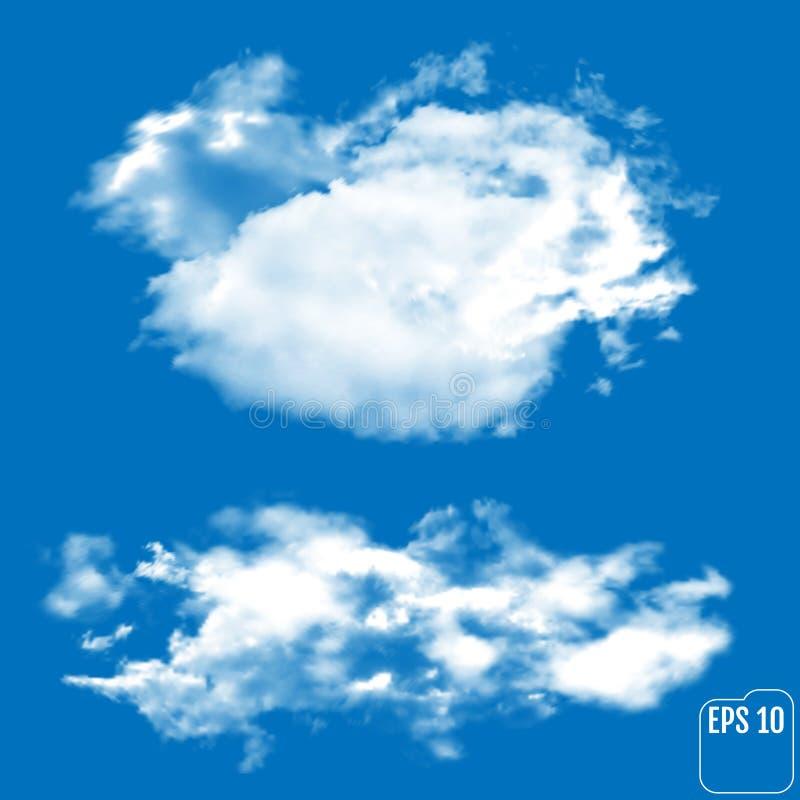 Due nuvole realistiche su un fondo azzurro illustrazione di stock