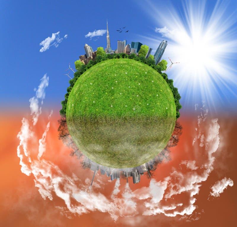 Due opzioni/lati, concetto di eco, arte digitale di eco immagine stock