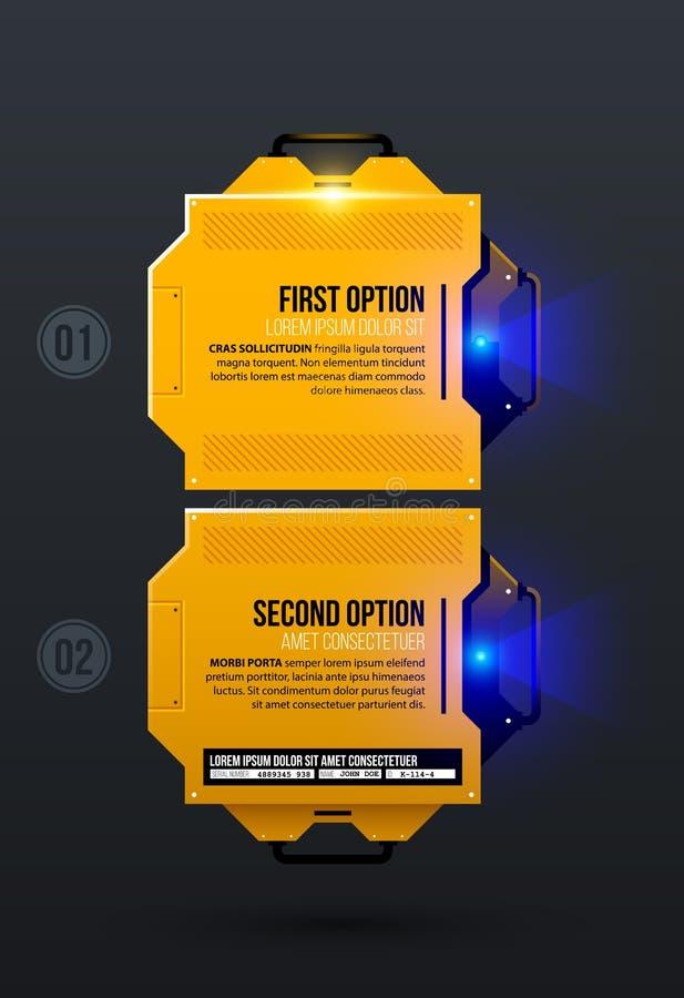 Due opzioni nello stile techno industriale giallo illustrazione di stock