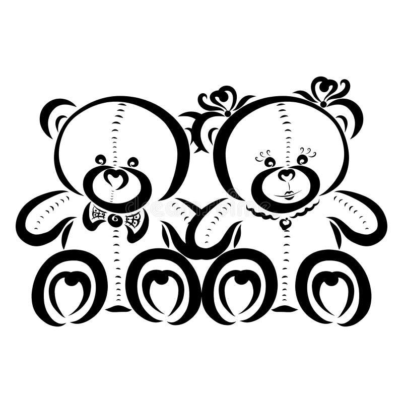 Due orsacchiotti svegli, un ragazzo e una ragazza, modello nero illustrazione di stock