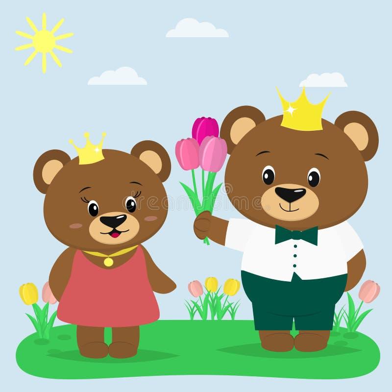 Due orsi bruni nella corona e nei vestiti nella radura di estate Un ragazzo dà i tulipani ad una ragazza royalty illustrazione gratis