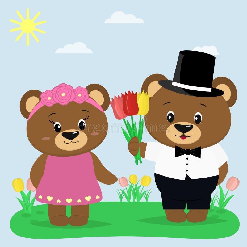 Due orsi bruni in vestiti su una radura di estate Un ragazzo dà i tulipani ad una ragazza royalty illustrazione gratis