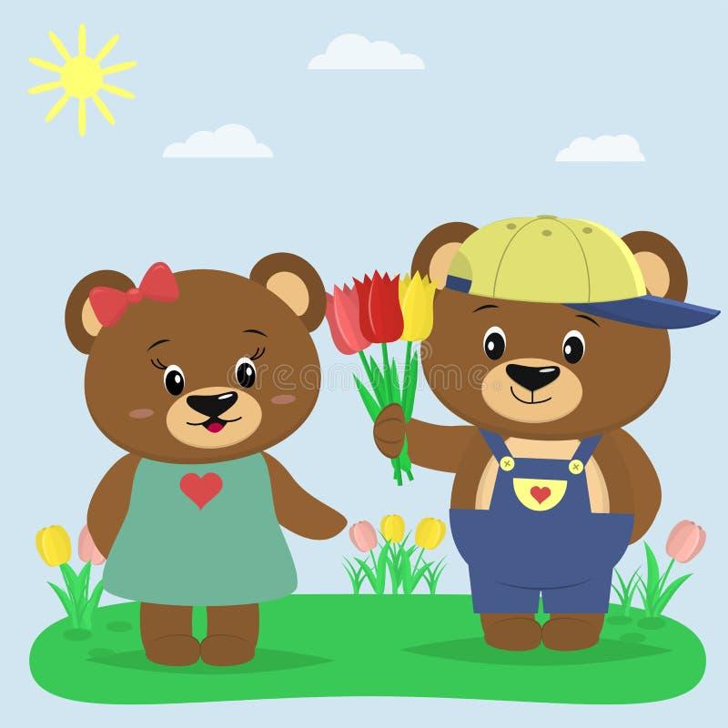 Due orsi bruni in vestiti su una radura di estate Un ragazzo dà i tulipani ad una ragazza illustrazione vettoriale