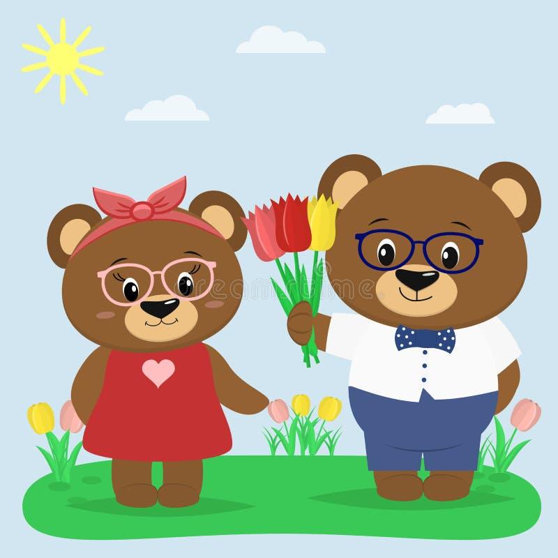 Due orsi bruni in vetri e vestiti in una radura di estate Un ragazzo dà i tulipani ad una ragazza royalty illustrazione gratis