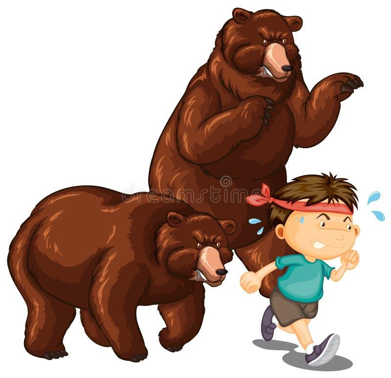 Due orsi che inseguono ragazzino illustrazione vettoriale