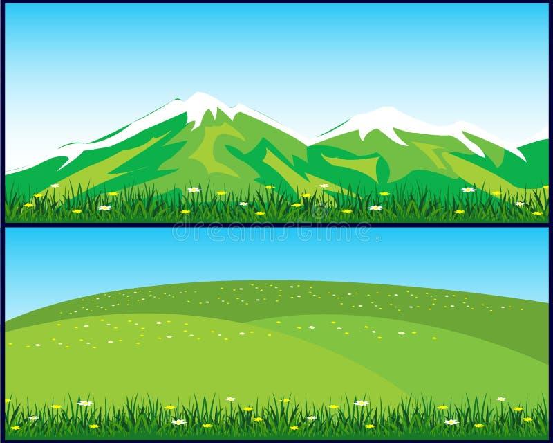 Due paesaggi illustrazione di stock