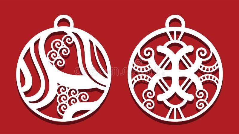 Due palle di Natale per il taglio del laser Invito di nuovo anno royalty illustrazione gratis