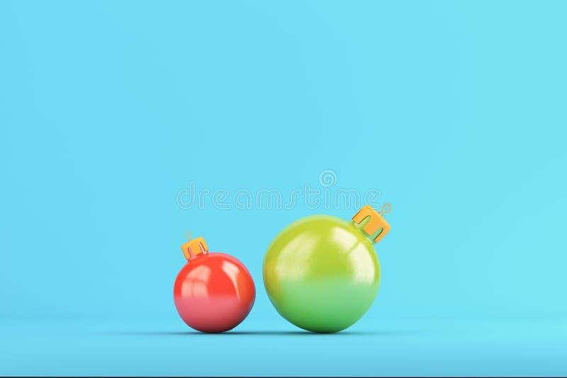 Due palle di natale su fondo blu luminoso illustrazione vettoriale