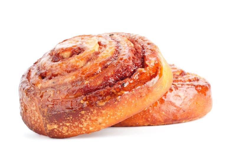 Due panini dolci con cannella immagini stock libere da diritti