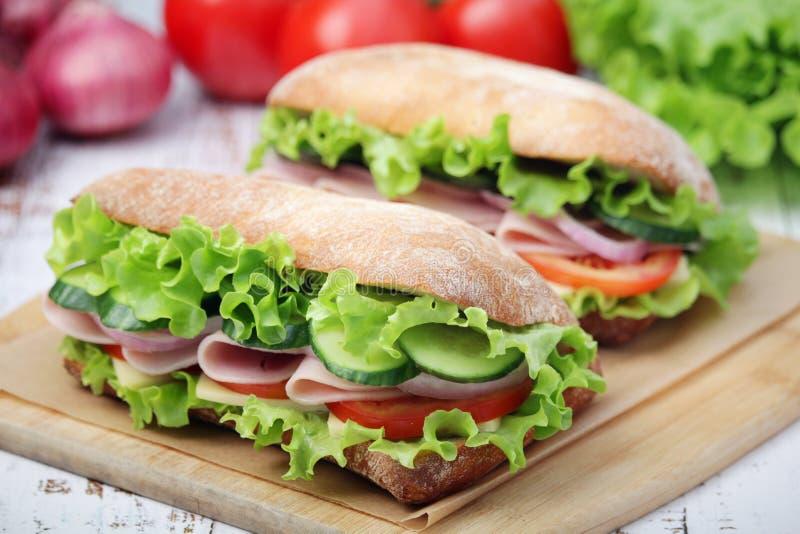 Due panini in pane di ciabatta immagini stock libere da diritti