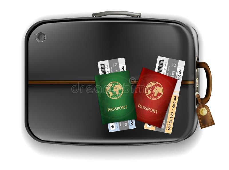 Due passaporti con i biglietti di aeroplano sulla valigia nera illustrazione vettoriale