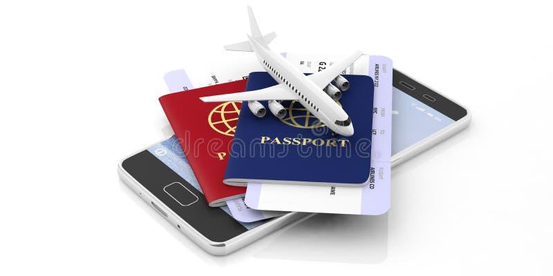 Due passaporti e biglietti di aeroplano su un telefono cellulare isolato su fondo bianco illustrazione 3D royalty illustrazione gratis