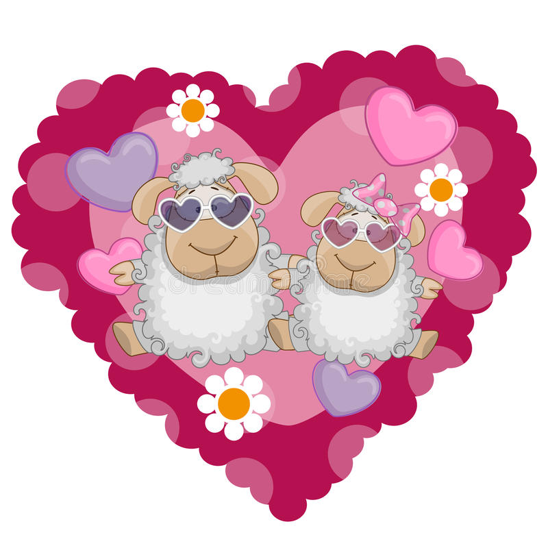 Due pecore royalty illustrazione gratis