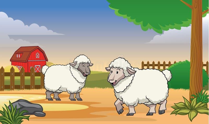 Due pecore felici nell'azienda agricola con stile del fumetto illustrazione di stock