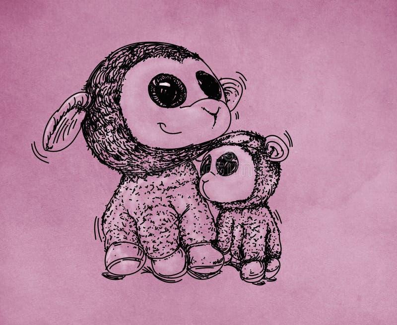 Due pecore hanno abbracciato illustrazione di stock