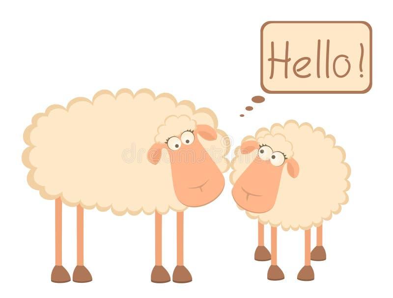 Due pecore sorridenti del fumetto illustrazione vettoriale
