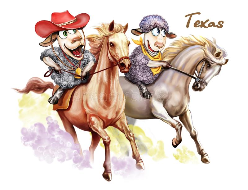 Due pecore stanno attraversando through il Texas illustrazione vettoriale