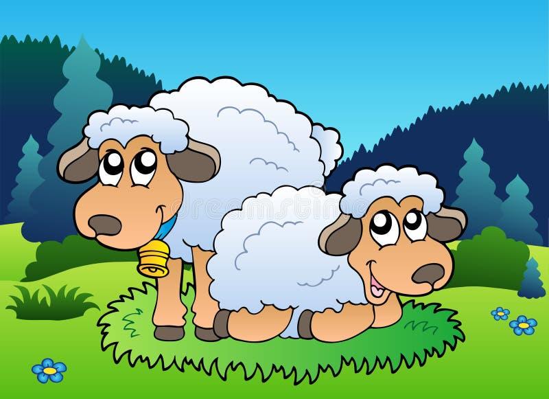 Due pecore sul prato royalty illustrazione gratis