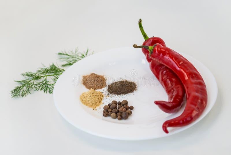 Due peperoncini e pepe a terra sul piatto bianco fotografia stock
