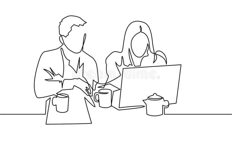 Due persone che lavorano una linea continua disegno di vettore Studenti che preparano agli esami, facenti compito illustrazione vettoriale